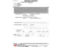 Контрольный сертификат калибровки NIST (входит в комплект)